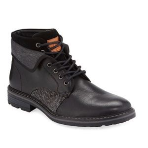 Men's Jef Leather/Chevron Fabric Fold-Over Boots